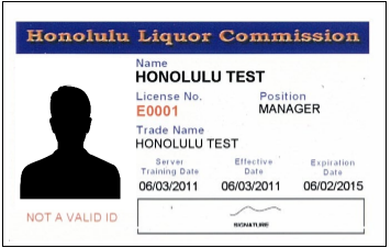 Certificate of Registration (Employee Liquor Cards)