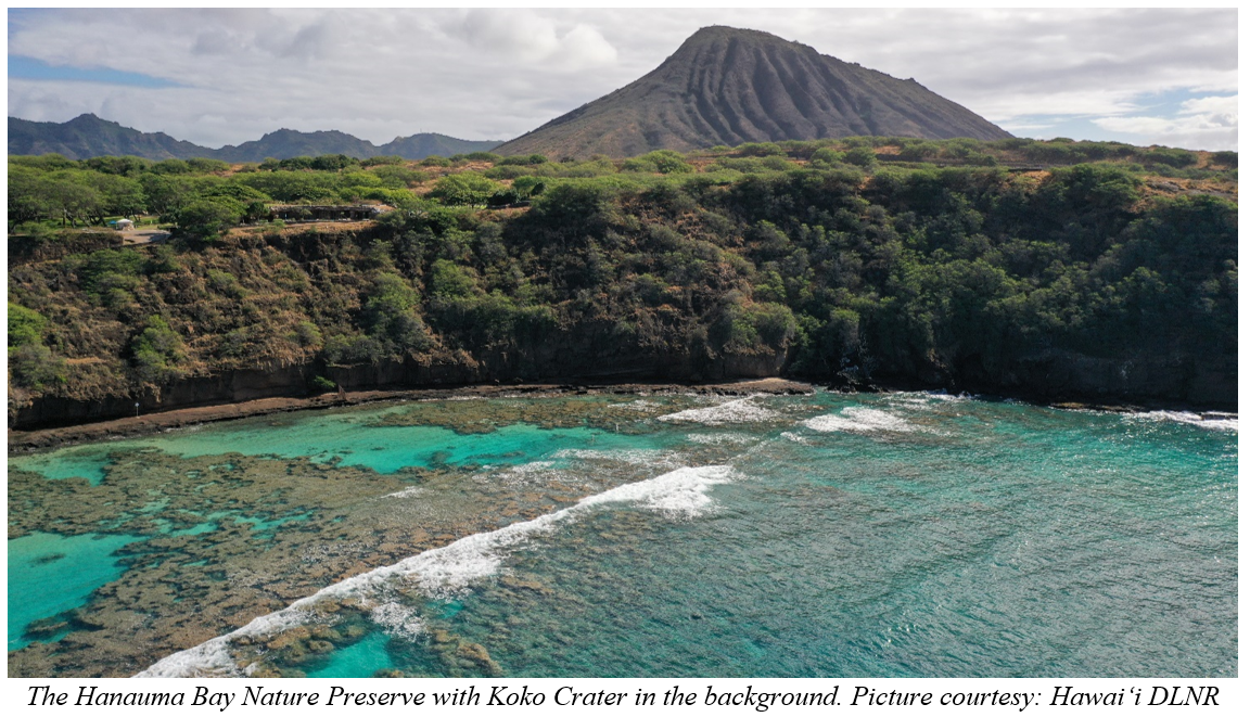 The Hanauma Bay Nature Preserve with Koko Crater in the background. Picture courtesy: Hawai'i DLNR