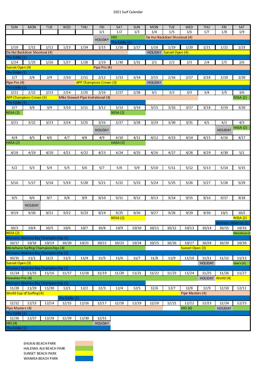 Honolulu Activity Calendar December 2020 North Shore Water Event Information