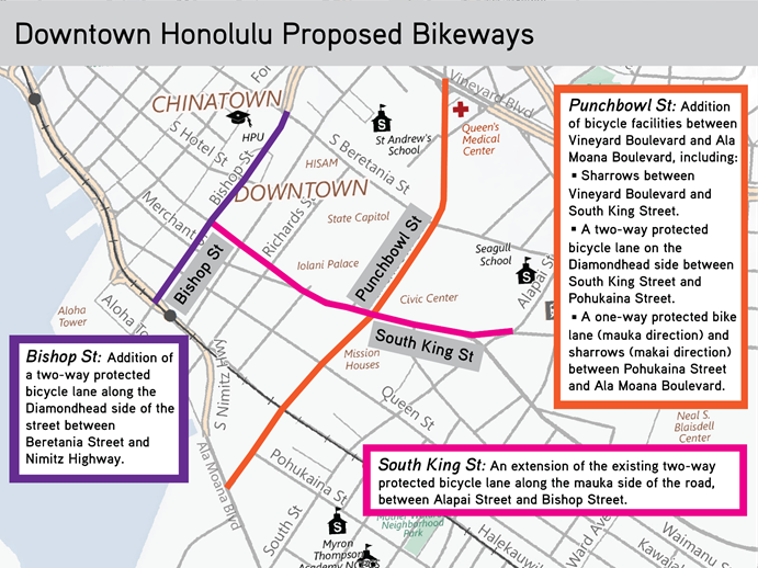 Public meeting for bikeway projects in downtown Honolulu